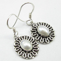 Pure Silver FRESH WATER PEARL VINTAGE STYLE EARRINGS Oxidized Jewelry 3 1 CM