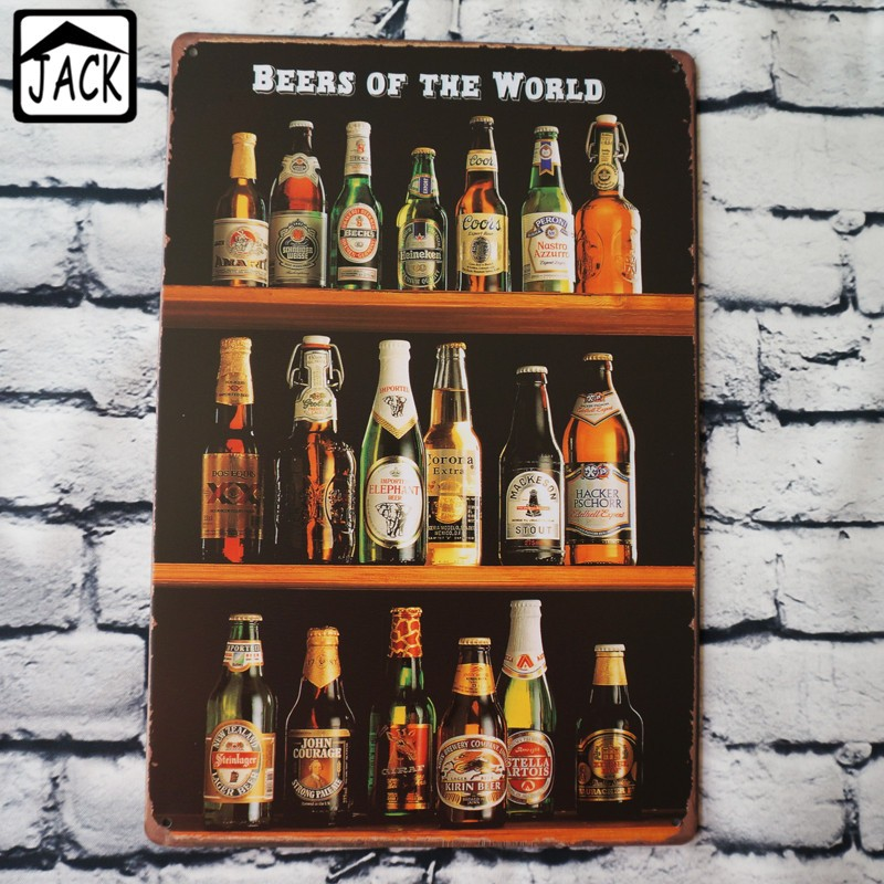 BEERS OF THE WORLD Painting Item Tin Sign Chic Home Bar Pub Home Gallery  Garage Wall Decor Retro Metal Art Poster