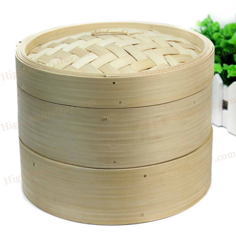 Utensilio de cocina duradero de 2 niveles vaporizador de bambú utensilios de cocina chinos pescado arroz Dim Sum cesta de Pasta de arroz conjunto con tapa