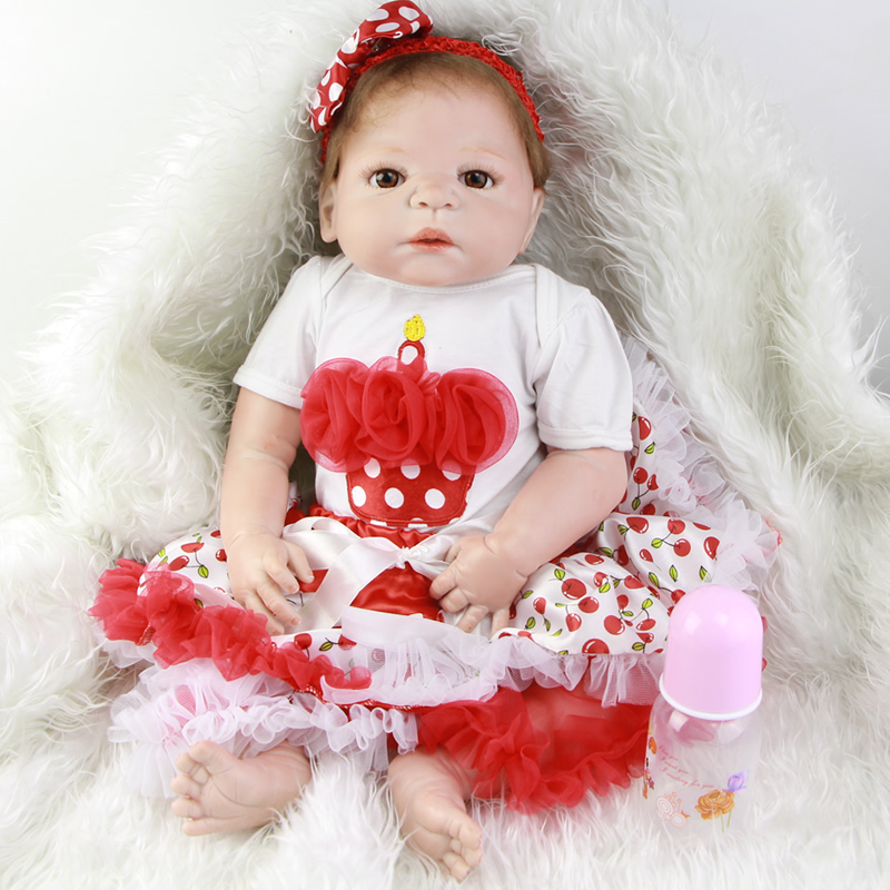 Hot Arrival 23''57cm Reborn Baby Red Skin Dolls Alive New Babies Born Doll Dress Skirt Full Silicone Vinyl Girl Baby Kids Gifts truly cute 57 cm full silicone reborn vinyl body dolls girl model 23 realistic new born baby dolls reborn kids christmas gifts