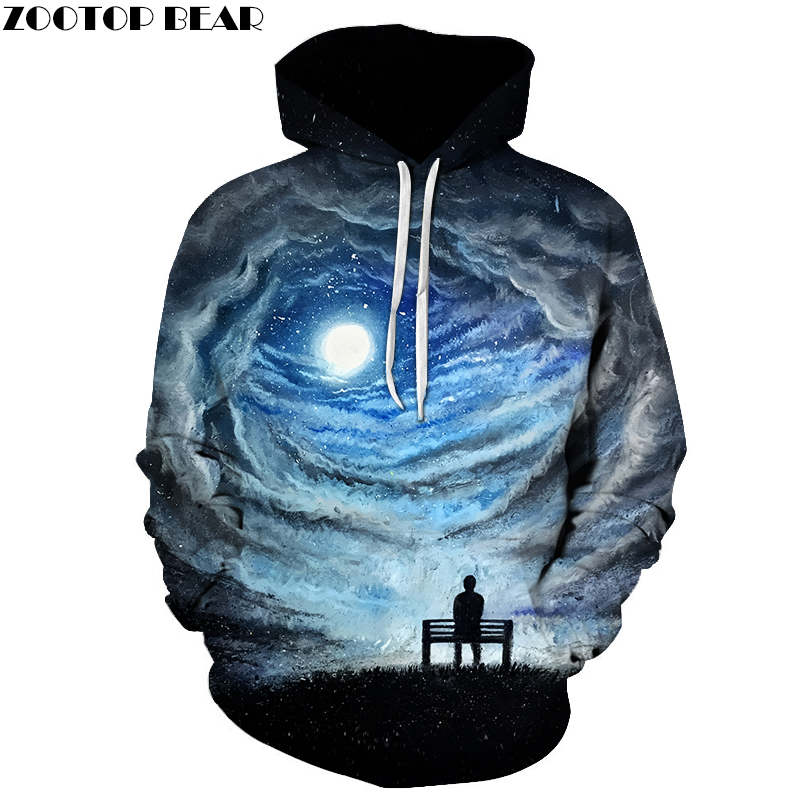 Funny Printed 3D Men Hooded Sweatshirts Autumn Winter Hoodies Galaxy Night Pullover Fashion Casual Jacket Outwear ZOOTOP BEAR