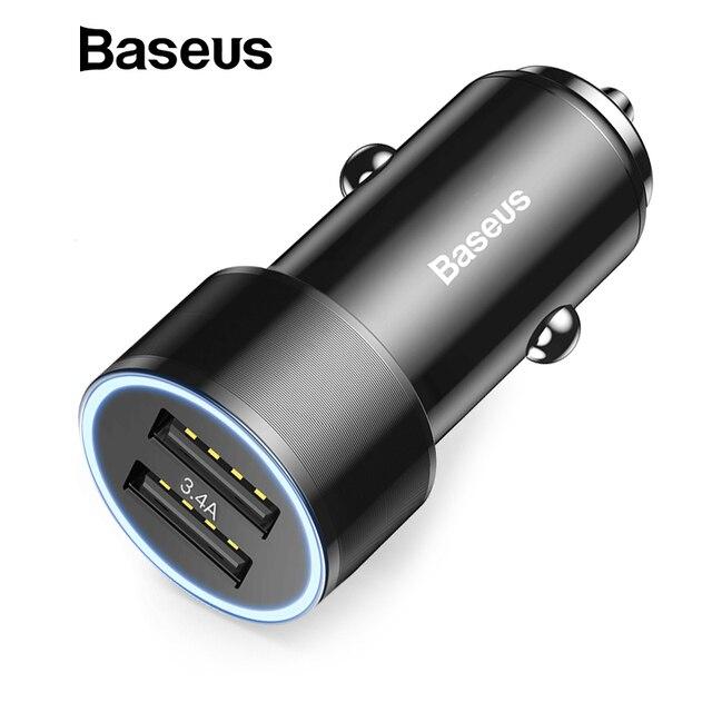 Автомобильное зарядное устройство Baseus 3.4A для iPhone 8 7 Xiaomi Dual USB зарядное устройство для мобильного телефона для авто планшета gps дорожный адаптер Автомобильное зарядное устройство для телефона