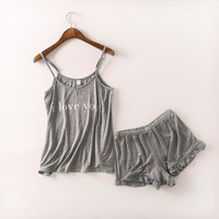 Letter Printing Pajamas Sets Spring Summer Cotton Women Pajama Halter Top With Sleep Shorts Solid Lace Lady Nightgown Sexy Home