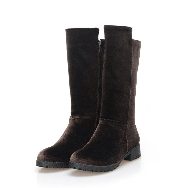 Gris Noir De Zipper mollet Mi Moto Chainingyee Chaussures Rond Bottes Rue Nubuck brown Black Décontracté Plat Bout grey Brun Style Femmes wFqSAqvxp