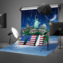 5x7ft American Buildings Backdrop the Statue of Liberty in moonlight Photography Background Party Photo Video Studio Props