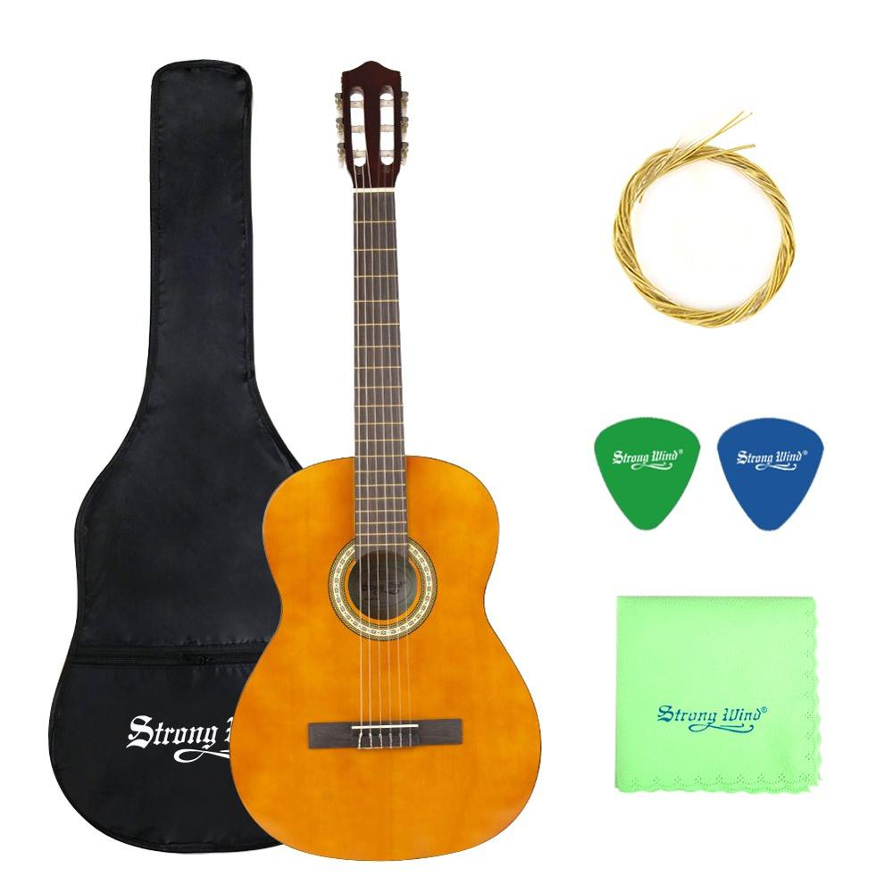 Strong Wind 3/4 Size Classical Acoustic Guitar 39 Inch Acoustic Guitarra for Begin Guitar Yellow with Bag Tuner Strings Picks