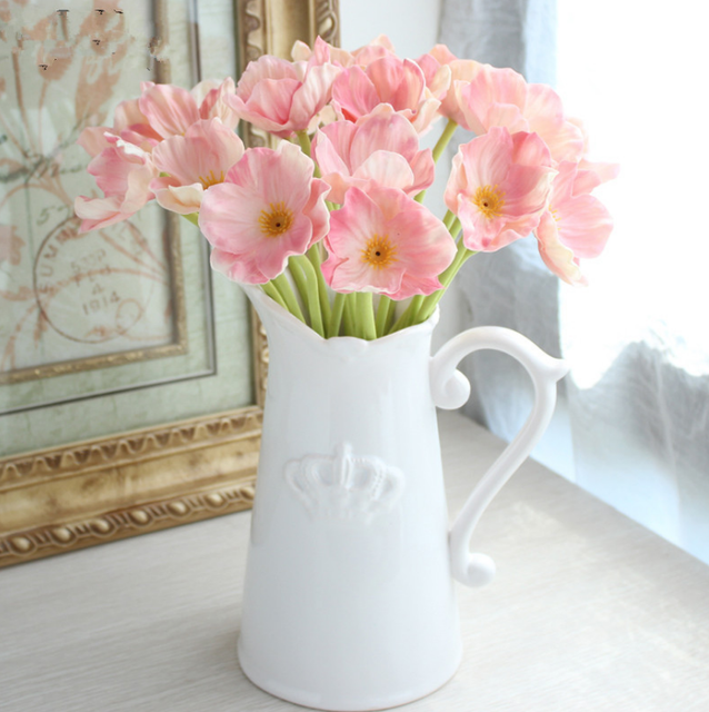 Single Poppy Artificial Flowers Living Room Flower Decorations