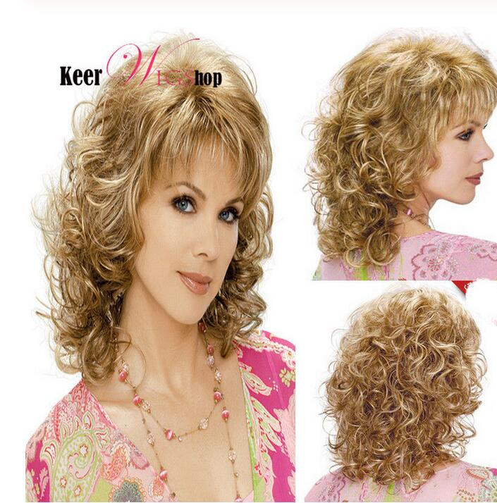 Jewelry Wig Hot Sale Short Curly Hairstyle Blonde Color Synthetic Hair Capless Women Wigs Free Shipping