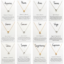 12 Constellation Pendant Necklace For Women Zodiac Sign Kolye Necklace Leo Libra Aries Wish Card Fashion Jewelry Birthday Gifts cheap Zinc Alloy Pendant Necklaces TRENDY Link Chain Metal Animal All Compatible 0 39 IN EY1545 gold silver