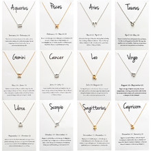 12 Constellation Pendant Necklace For Women Zodiac Sign Kolye Necklace Leo Libra Aries Wish Card Fashion Jewelry Birthday Gifts(China)