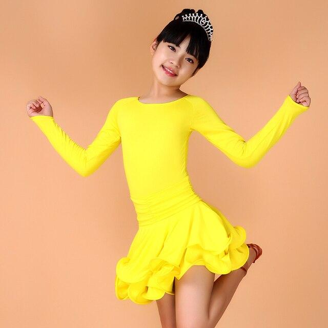 6e73b4e7aea78 Bleu Rose jaune noir vert robe de danse latine Spandex pour 4 13y ...