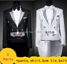 Male formal tuxedo costume dress set married suit male black white include pants shirt tie belt for groom singer dancer party