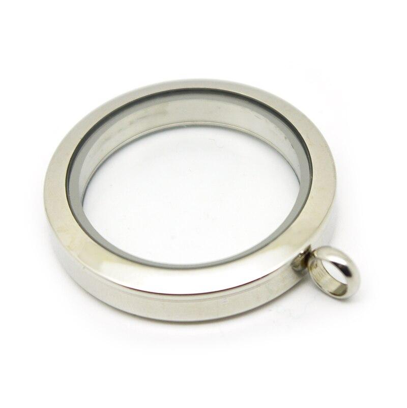 d9ddda46eb ᗑ 30 mm rodada de vidro memória medalhão de aço inoxidável simples ...