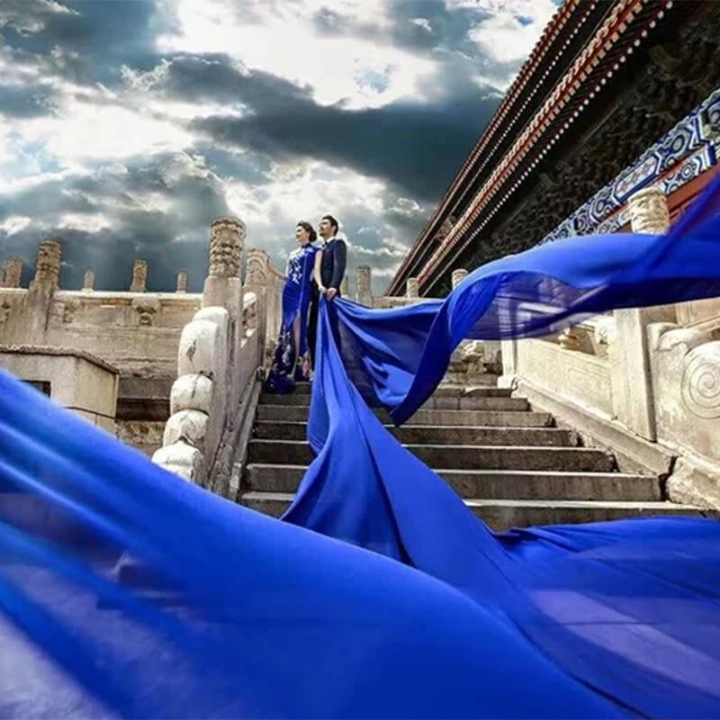 5 Meters Wedding Picture Bridal Extra Long 3M 5M Royal Blue Soft Mesh Tulle Lace Veil Women Bride Veils 300CM 500CM Without Comb
