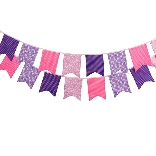 1pcs 3.5M 12 Flags Pink Purple Children Birthday Home Cloth ...