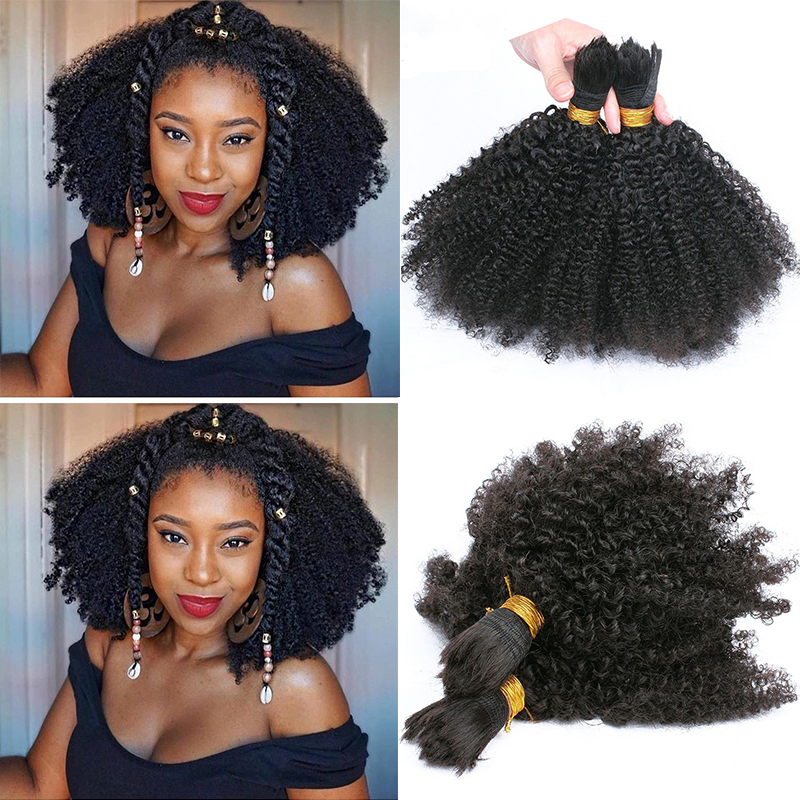 Human Braiding Hair <font><b>Bulk</b></font> No Attachment Mongolian Afro Kinky Curly Hair Extension For Braids 1Pc Crochet Braids 4B 4C Dolago Remy image