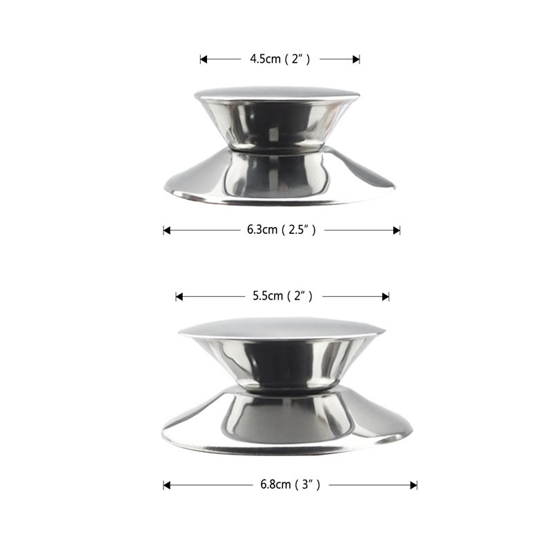 2Pcs/Set Replacement Stainless Steel Pot Lid Knobs 3