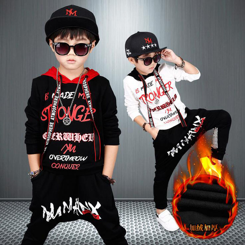 Boys Clothes Sets Thick Fleece Warm Children Clothing Set Sport Suit Coats Pants Kids Tracksuit Hoodies Vetement Enfant Garcon 2017 new kids clothes children summer clothing sets baby boys hip hop cotton costumes tracksuit vetement enfant garcon roupa