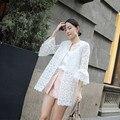 Mulheres Blusas 2016 Primavera Verão Moda Chifre Manga Blusa Cardigan Sol Camisa Do Laço Das Mulheres Tops Camisas Blusas Roupas Protetor Solar