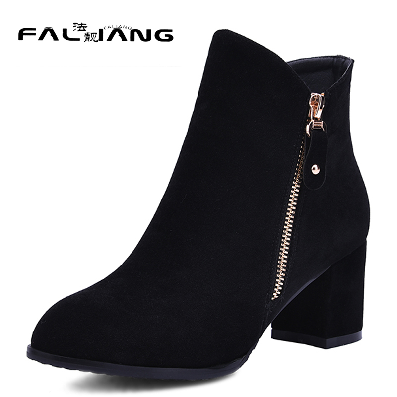 New arrival Winter plus size 11 12 13 14 fashion Flock womens Hand sewn shoes Pointed Toe Rough with med Heels Winter Boots new 2017 spring summer women shoes pointed toe high quality brand fashion womens flats ladies plus size 41 sweet flock t179
