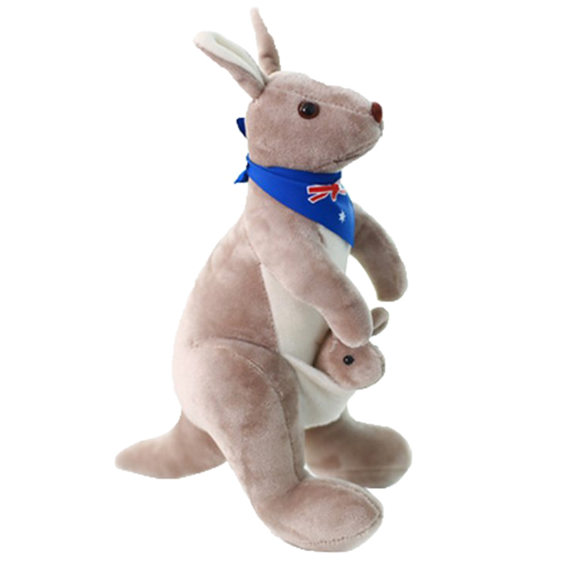 все цены на Stuffed Animal toy Plush Mother Kangaroo Soft Plush Doll Toys for Baby Kids Gift 35cm height in Australian Flag Scarf