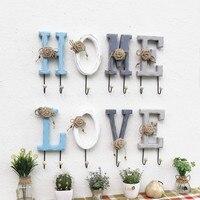 4pcs/set Creative Retro Alphabet Wooden Hooks Home Decoration Wall Key Clothes Bag Door Hanger