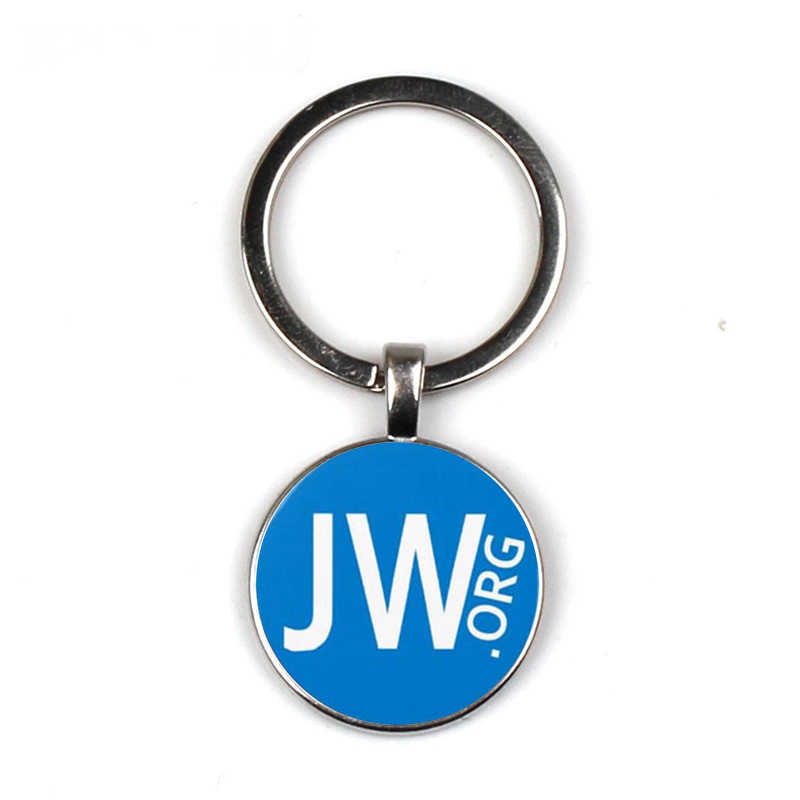 JW Org Keychain Bright Color Jehovah's Witnesses Glass Cabochon Pendant Key Chain Sleutelhanger Car/Bag Key Ring Holder