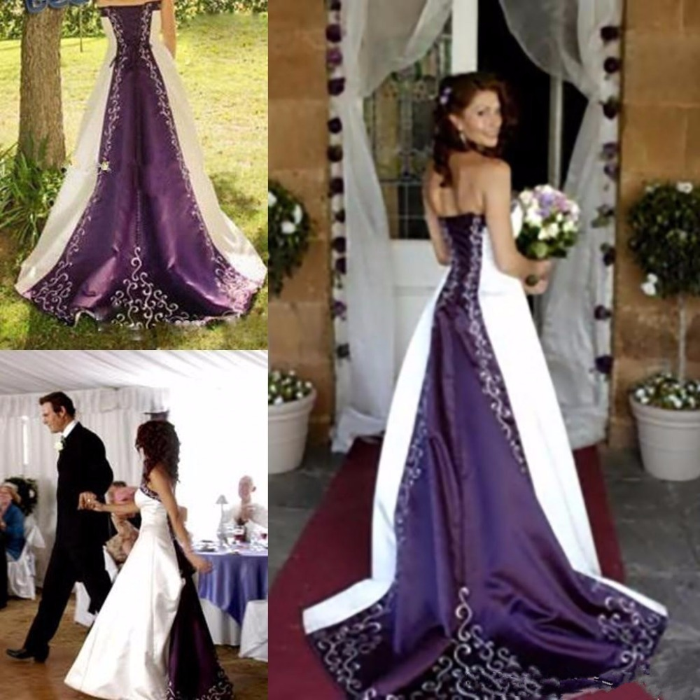 White Purple Embroidery Cathedral Train A Line Wedding Dress Country Rustic Bridal Fancy Gowns Unique Lace Up Back