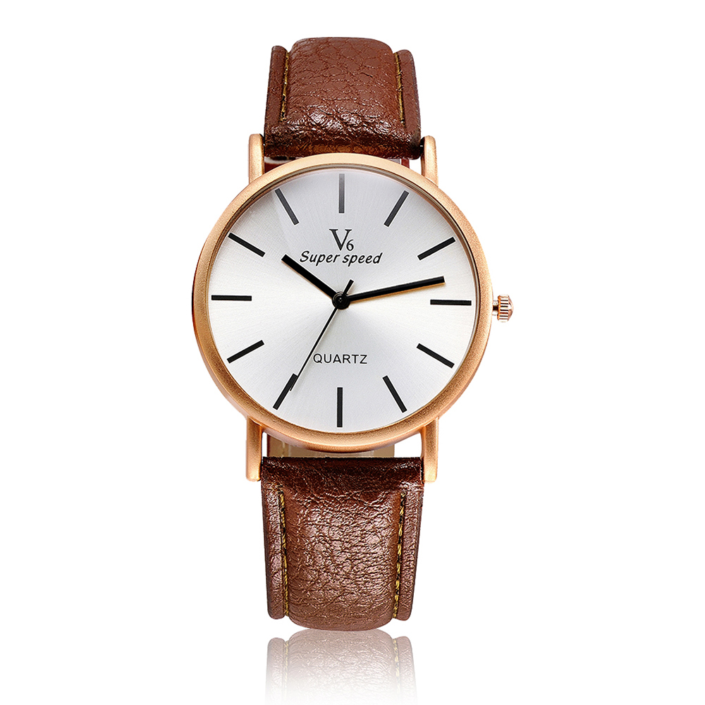 V6 Brand Fashion Rose Gold Watch Women Watches Leather Ladies Quartz-Watch Lady Hour Relogio Feminino Montre Femme Reloj Mujer