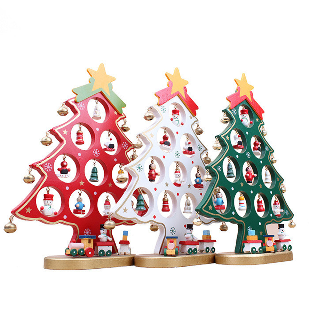 Diy Cartoon Wooden Christmas Tree Decoration Christmas Gift Ornament Table  Desk Decoration New Year Decoration(