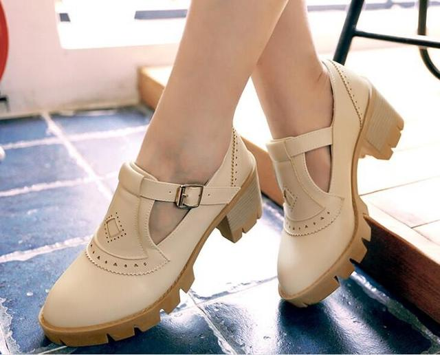 Heel From Snap Ladies Lolita Free Pumps Bow Style Wedge Us39 Shoes Shipping Women's Marine Buckle 7japanese Sailor Button In Straps BxoWdrCe