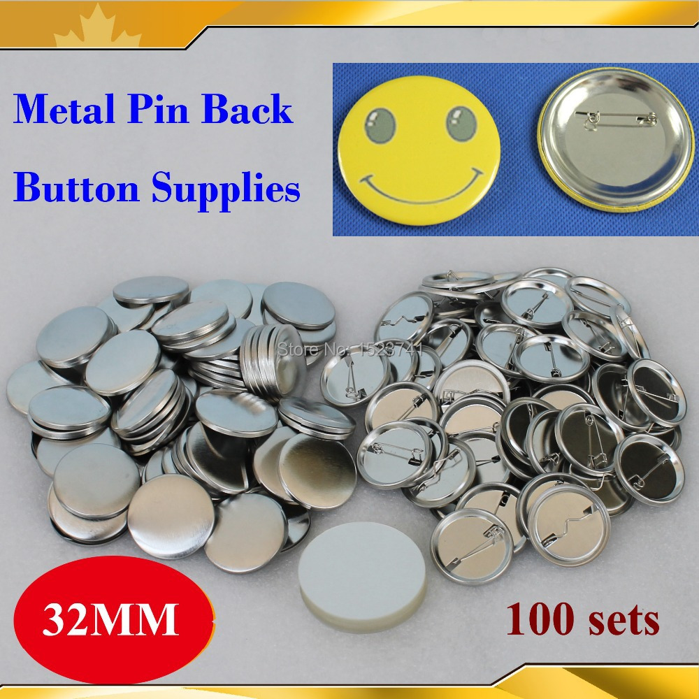 Honest 1-1/4 32mm 100 Sets New Professional All Steel Badge Button Maker Pin Back Metal Pinback Button Supply Materials Fashionable Patterns Labels, Indexes & Stamps