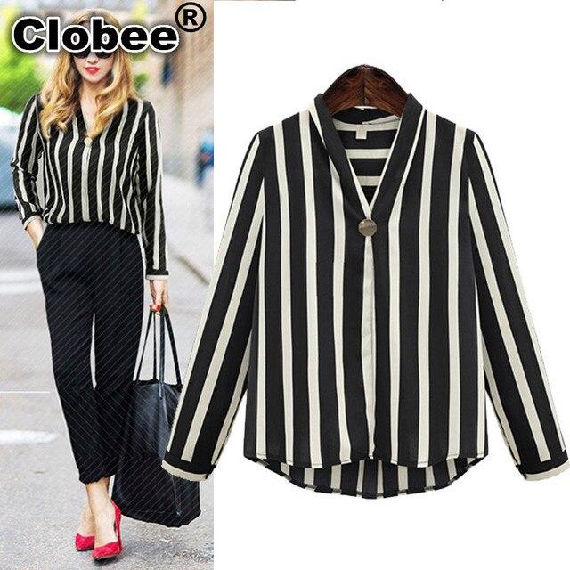 a5f24e50f0 Clobee 4XL 5XL Plus Size Mulheres Blusas 2018 roupas feminina Listras  Verticais Chiffon Blusa Com Decote