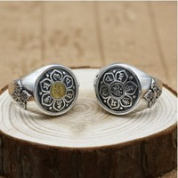 Male rings 925 sterling silver buddhism ring opening ring men silver accessories Big Rings 20mm