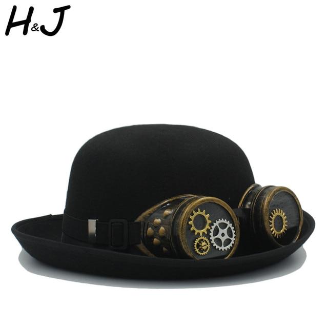 4d6f8235db468 Women Men Handwork Bowler Steampunk Hat With Gear Glasses Cosplay Steam  Punk Fedora Halloween Party Caps