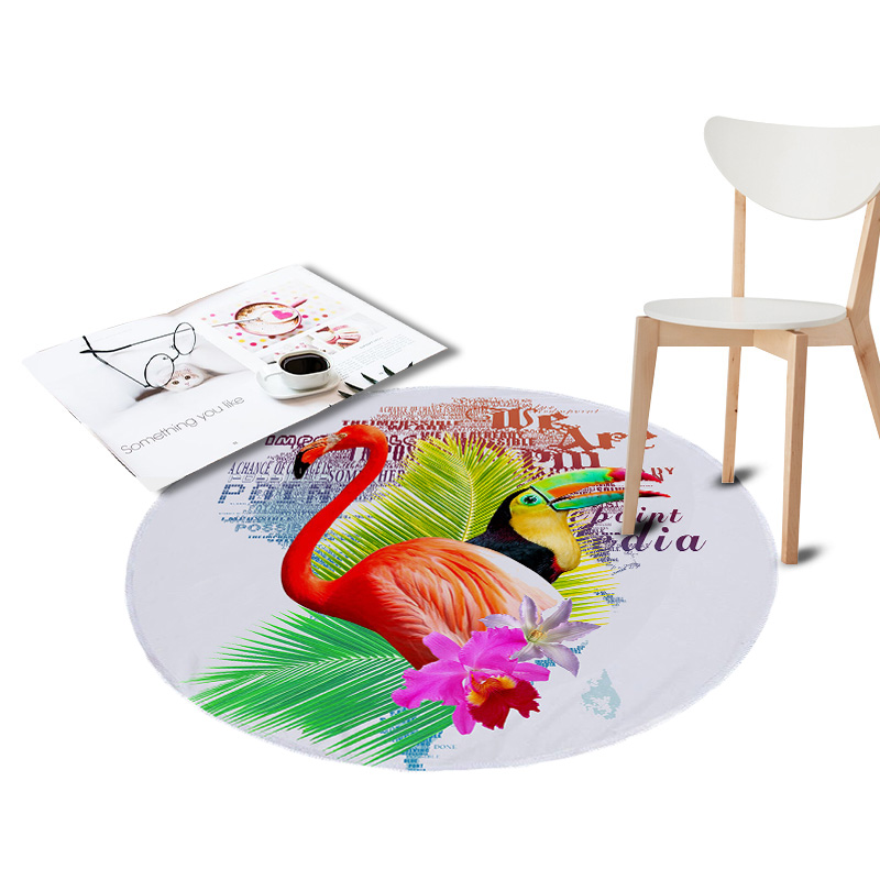 Flamingo Printed Coral Velvet Chair Floor Mat Large Round Carpet for Living Room Area Kids Bedroom Tropical Plants Outdoor Rugs