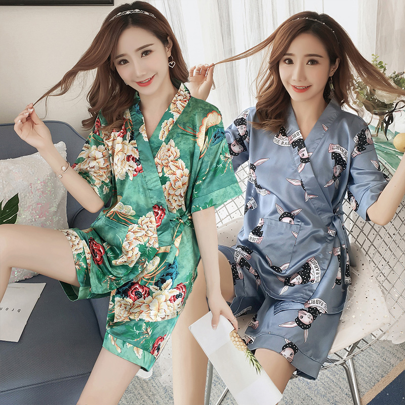 2019 Hot Summer Silk Satin Shorts Kimono   Pajama     Set   for Women Short Sleeve V-neck Pyjama Sleepwear Homewear Pijama Mujer Clothes
