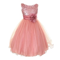 Princess Girl O Neck Sleeveless Sequined Floral Ball Gown Party Dresses One Piece Daily Dress