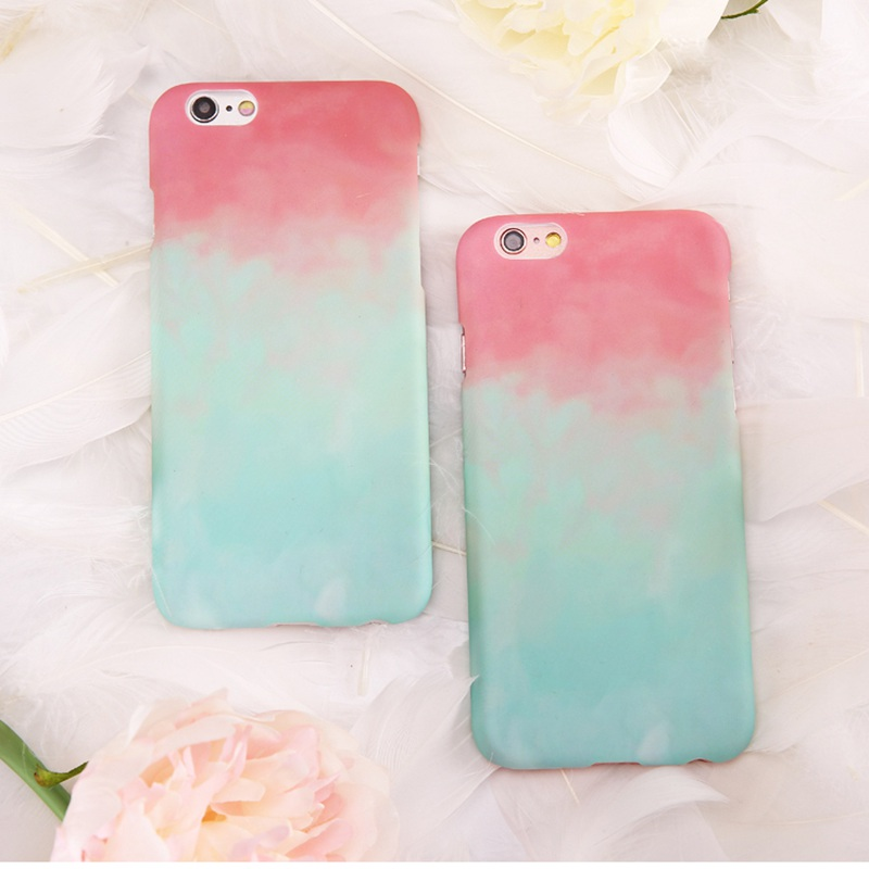 best service 57c64 0cf44 US $4.6 |Mint Green Pink Gradient Color Case For iPhone 7 6 6S Watermelon  Fresh Cute Girls Phone Cover For iPhone 7 Plus 6 6S Plus Coque-in Fitted ...