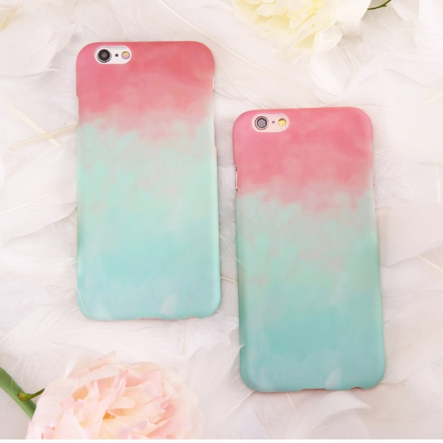 best service 16e82 97db8 US $4.6 |Mint Green Pink Gradient Color Case For iPhone 7 6 6S Watermelon  Fresh Cute Girls Phone Cover For iPhone 7 Plus 6 6S Plus Coque-in Fitted ...