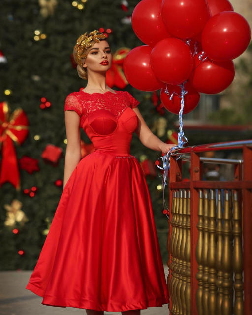 A Line Short Sleeves Knee Length Red Lace Satin Robe Cocktail Party Dress vestido de festa curto Formal Gown