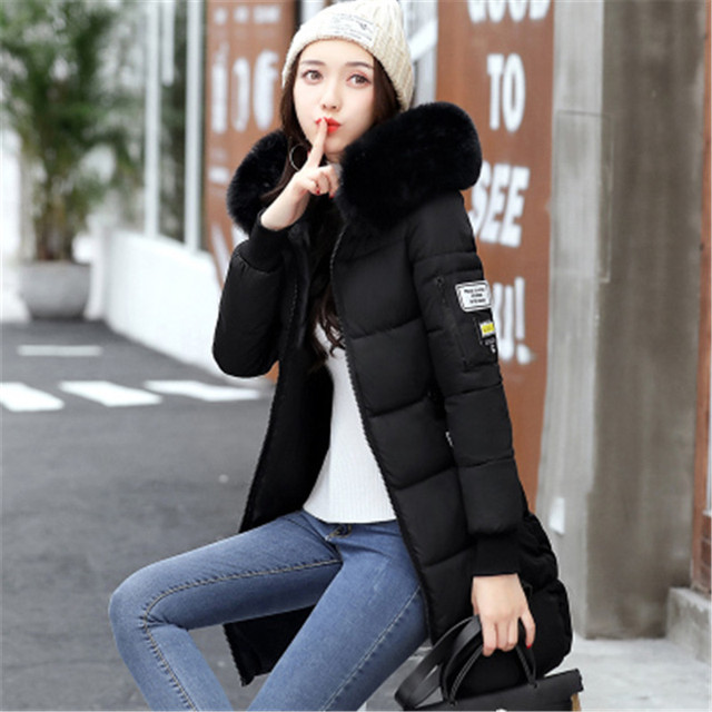New 2018 Winter Jacket Women Cotton Coat Fur Collar Hood Parka Female Long Jackets Thick Warm Outerwear chaqueta mujer ST157 3
