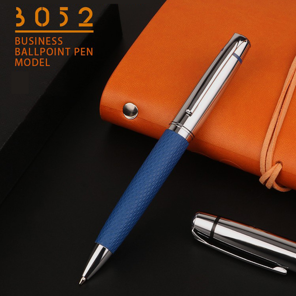 Luxury Ballpoint Pen Metal+Leather Blue/Black PU Leather Penholder Roller Pen 0.7mm For Business Writing Office School Supplies