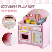 Wooden Kitchen Playset Kids Cute Pretend Play Cooking Food Table Toy Box Gift