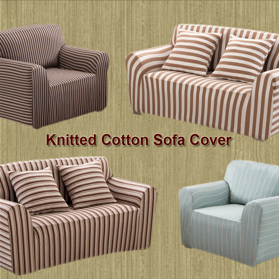 cotton recliner chair covers rustic dining knitted striped sofa cover couch spendex stretch big elasticity loveseat furniture in from home garden