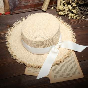 Summer Sun Hats For Women Natural Raffia Straw Hat Ladies Elegant Bow-Knot Beach Caps 1
