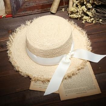 Summer Sun Hats For Women Natural Raffia Straw Hat Ladies Elegant Bow-Knot Beach Caps 1