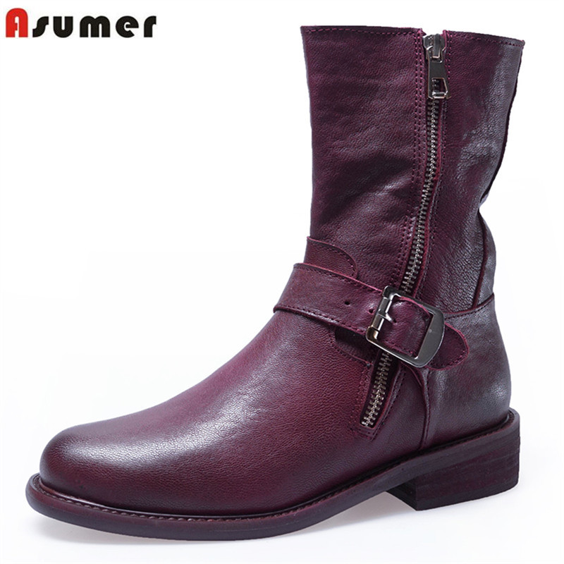 ASUMER 2018 fashion ankle boots round toe zip genuine leather boots low heels shoes woman zip autumn winter boots women big size asumer black fashion autumn winter boots women pointed toe zip genuine leather boots thick high heels ankle boots big size 33 43