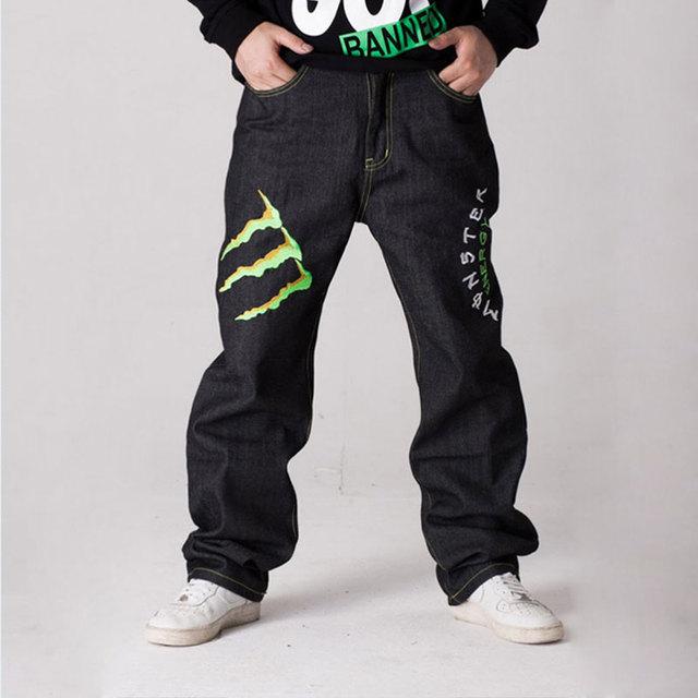 Calças de Brim Venda quente em linha reta calças de brim calças hop calças skate hop estilo harem pants calças jeans masculinas Frete Grátis