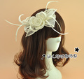 Beige Bowknot Bridal Hats Wedding Hair Accessories Feather Ladies Pillbox Hats Special-Occasion-Hats Bride Fascinator
